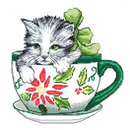 AN 4378 Tapestry aida - Cat in a cup