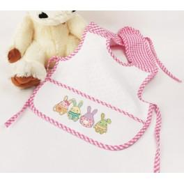 GU 8726 Cross Stitch pattern - Bib with colorful bunnies