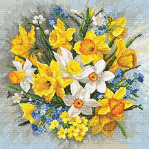 Cross stitch kit with beads - Spring flowers II