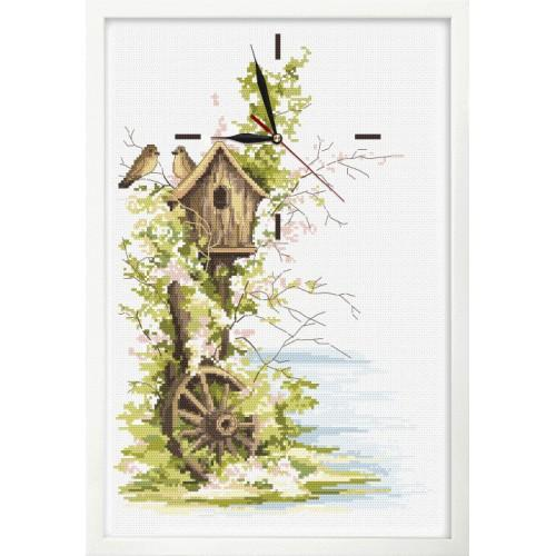 Cross stitch set with mouline, clock and frame - Spring clock