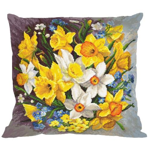 Cross stitch set with mouline and a pillowcase - Pillow - Spring flowers