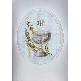 Cross stitch set with a postcard - Holy communion card - Cup