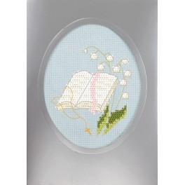 Cross stitch set with a postcard - Holy communion card - Holy Bible