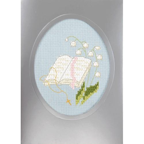 Cross stitch set with a postcard - Holy communion card - Holy Bible