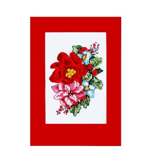 Cross stitch set with beads end ribbons