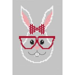 Pattern online - Card - Hipster rabbit girl