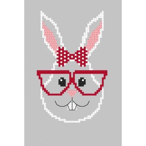 Pattern online - Card - Hipster rabbit girl