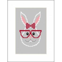 Set with mouline and beads - Card - Hipster rabbit girl