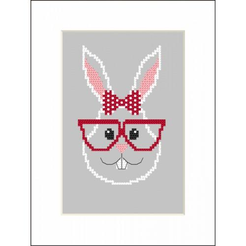 ZI 8900 Cross stitch kit with mouline and beads - Card - Hipster rabbit girl