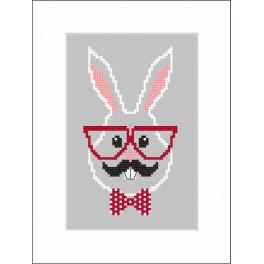 Cross stitch kit with a postcard - Hipster rabbit boy