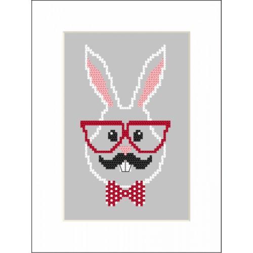 Cross stitch kit - Card - Hipster rabbit boy