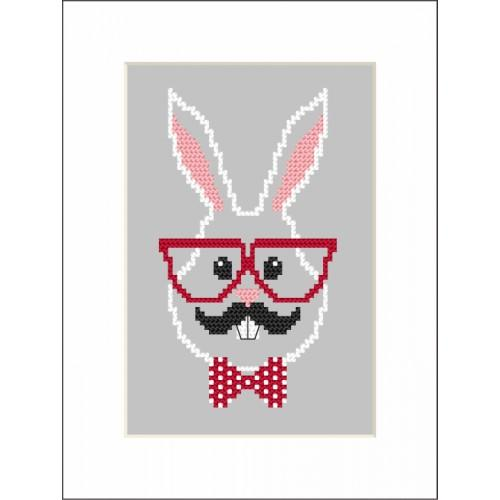 ZI 8901 Cross stitch kit with mouline and beads - Card - Hipster rabbit boy