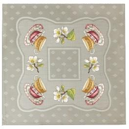 Cross stitch set with mouline and napkin - Napkin with cups