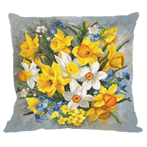 Cross stitch set with mouline and a pillowcase - Pillow - Spring flowers II