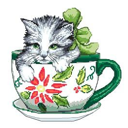 K 4378 Tapestry canvas - Cat in a cup
