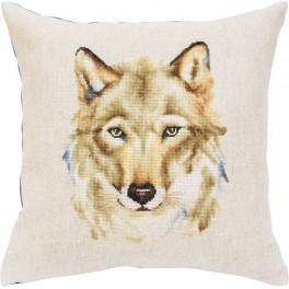 Cross stitch set with mouline and a pillowcase - A wolf look
