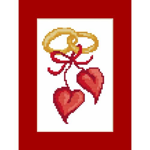 Cross stitch kit - Card - Wedding hearts