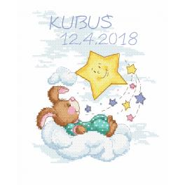 Cross stitch kit - Birth certificate with a bunny - boy