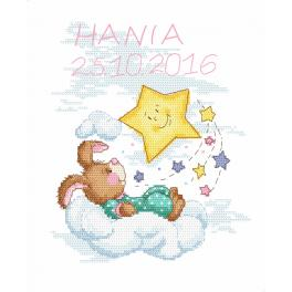 Cross stitch kit - Birth certificate with a bunny - girl