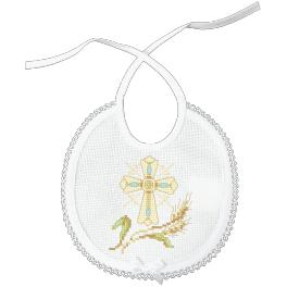 Cross stitch kit with mouline - Bib - Sacrament of Baptism
