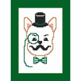 Cross stitch kit - Card - Hipster dog boy I