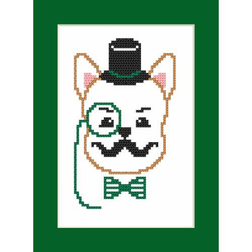 Cross stitch kit - Card - Hipster dog boy I