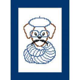 ZU 8907 Cross stitch kit - Card - Hipster dog boy II