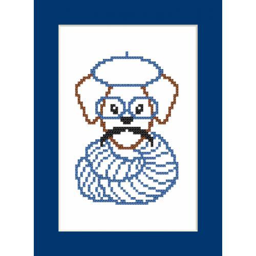 Cross stitch kit - Card - Hipster dog boy II