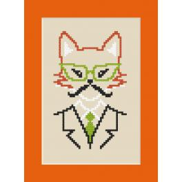 Cross stitch pattern - Card - Hipster fox boy