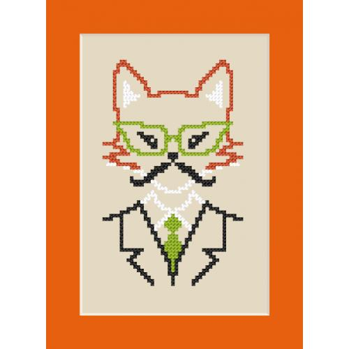 GU 8908 Cross stitch pattern - Card - Hipster fox boy