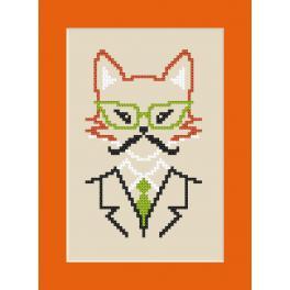 ZU 8908 Cross stitch kit - Card - Hipster fox boy