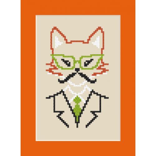 Cross stitch kit - Card - Hipster fox boy