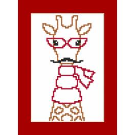 Cross stitch pattern - Card - Hipster giraffe boy