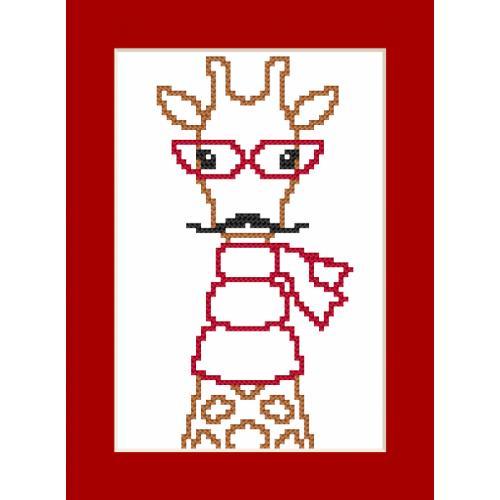 GU 8909 Cross stitch pattern - Card - Hipster giraffe boy