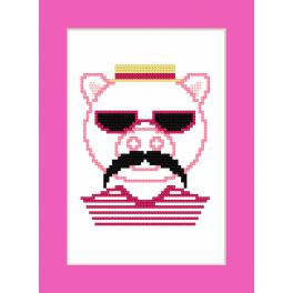 Cross stitch pattern - Card - Hipster pig boy