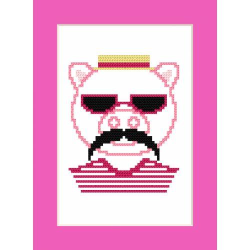 GU 8910 Cross stitch pattern - Card - Hipster pig boy