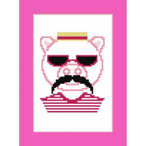 Cross stitch kit - Card - Hipster pig boy