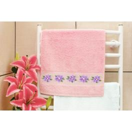 ZU 8744 Cross stitch kit - Towel with clematis