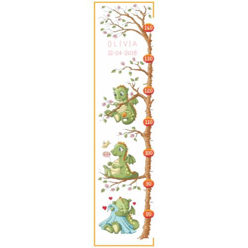 Z 8738 Cross stitch kit - Measure of growth - Little dragons