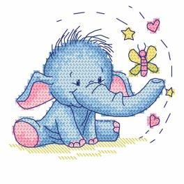 Cross stitch kit - Elephant with a butterfly
