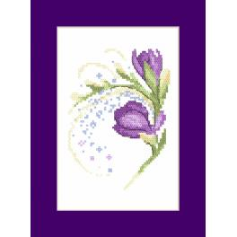 Cross stitch set with a postcard - Card with freesias