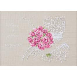 ZI 8745 Cross stitch kit with mouline and beads - Wedding souvenir