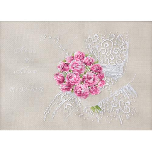 Cross stitch set with beads - Wedding souvenir