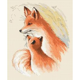 Cross stitch set - Hugging foxes