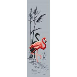 ZI 10096 Cross stitch kit with mouline and beads - Pink flamingo