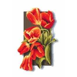 ZI 10115 Cross stitch kit with mouline and beads - Tulips 3D