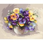 Set with tapestry and mouline - Pansies