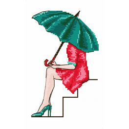Cross stitch kit - Green umbrella