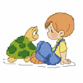 Cross stitch kit - Johnny and turtle
