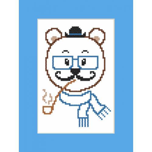 GU 8903 Cross stitch pattern - Card - Hipster bear boy